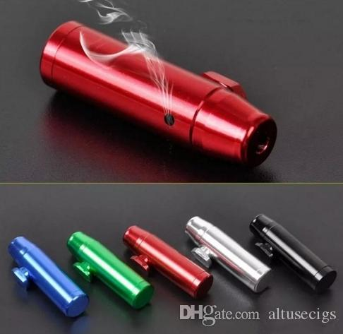 New Durable Aluminum Metal Bullet Rocket Shaped Snuff Snorter Sniff Dispenser Nasal Smoking Pipe Sniffer Glass Bongs Tobacco Pipe