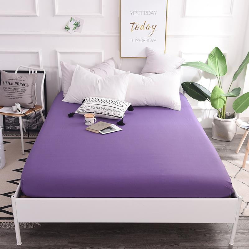 Smoke Purple Solid Color Sheets Fitted Bed Sheet Elastic Mattress Cover Bed  Linen Bedspread Cotton Single 200x220cm Size Bedspread Cheap Bedspread  Smoke ...