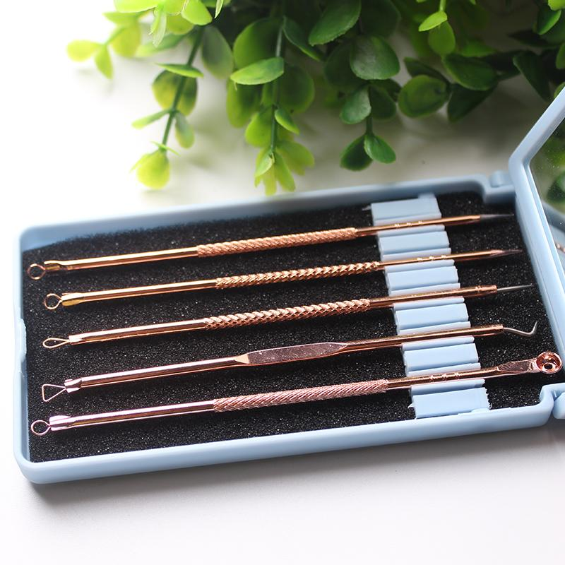Remover en acier inoxydable d'or Pimple extracteur Blackhead Outil Blemish Comedone acné enlèvement Extractor Aiguilles Miroir en plastique cas