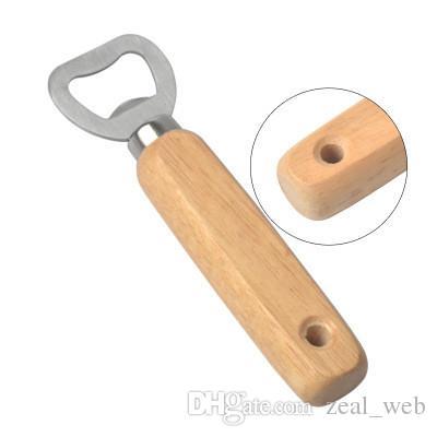 مقبض خشبي الفولاذ المقاوم للصدأ زجاجة بيرة فتاحة المشروبات زجاجة كاب فتاحة للمنزل حزب بار السقاة