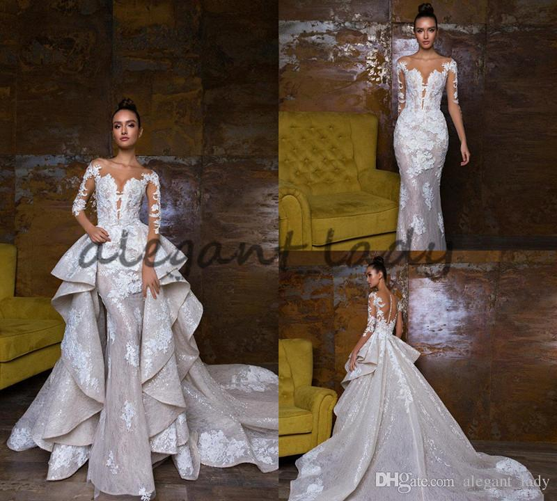 2018 Bohemian Wedding Dresses With Detachable Skirt Sweep Train Lace Applique Sequins Long Sleeve Bridal Dress Luxury Mermaid Wedding Gowns