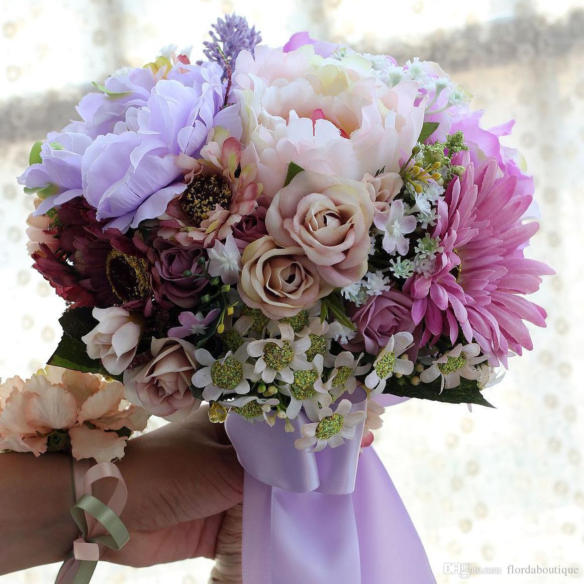 Acheter 2018 Fleurs En Soie Bouquet De Mariage A La Main Roses