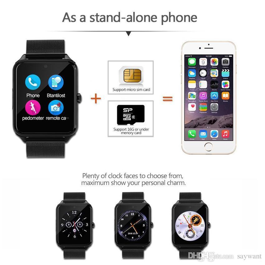 Z60 acero inoxidable reloj teléfono inteligente Bluetooth GT09 Apoyo TF tarjeta SIM Cámara rastreador de ejercicios SmartWatch para iOS Android