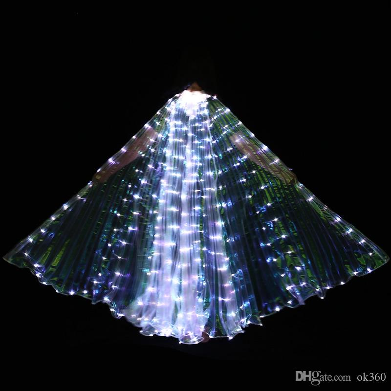 Colorido Levou Asas de Isis com Acessórios de Palco Dança Do Ventre Desempenho Palco Adereços Dança do Ventre Levante-se Asas de Borboleta LED Show de Fantasia