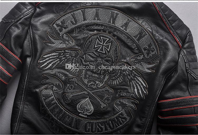 Chaquetas estilo Harley deshilachadas hombres Ropa de motocicleta de cuero delgado Cuello de chaqueta de motor de cuero genuino para hombre cuello bordado