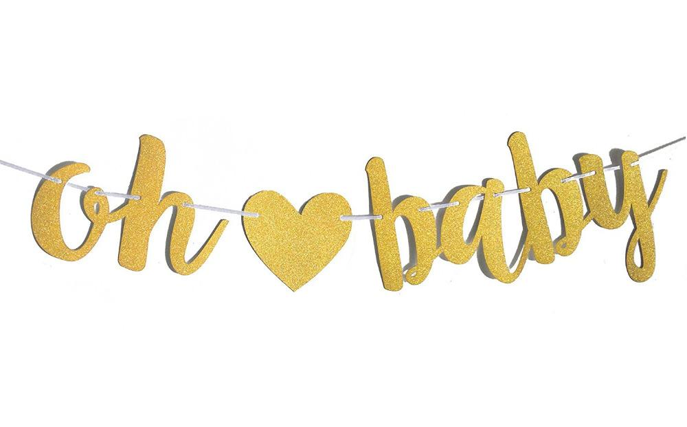 2019 glitter gold oh baby banner baby shower gender reveal party