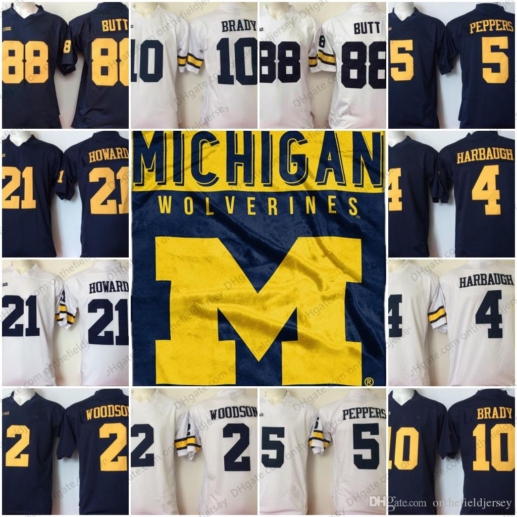 2019 Michigan Wolverines  2 Charles Woodson 4 Jim Harbaugh 5 Jabrill  Peppers 10 Tom Brady 21 Desmond Howard 88 Jake Butt NCAA Football Jerseys  From ... edae2d435