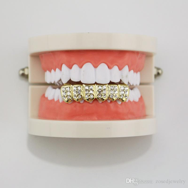 Zähne Caps Dental Grills Crystal Inlay Top Bottom Mund Grills Gold Farbe HipHop Zahn Grillz Männer Körperschmuck