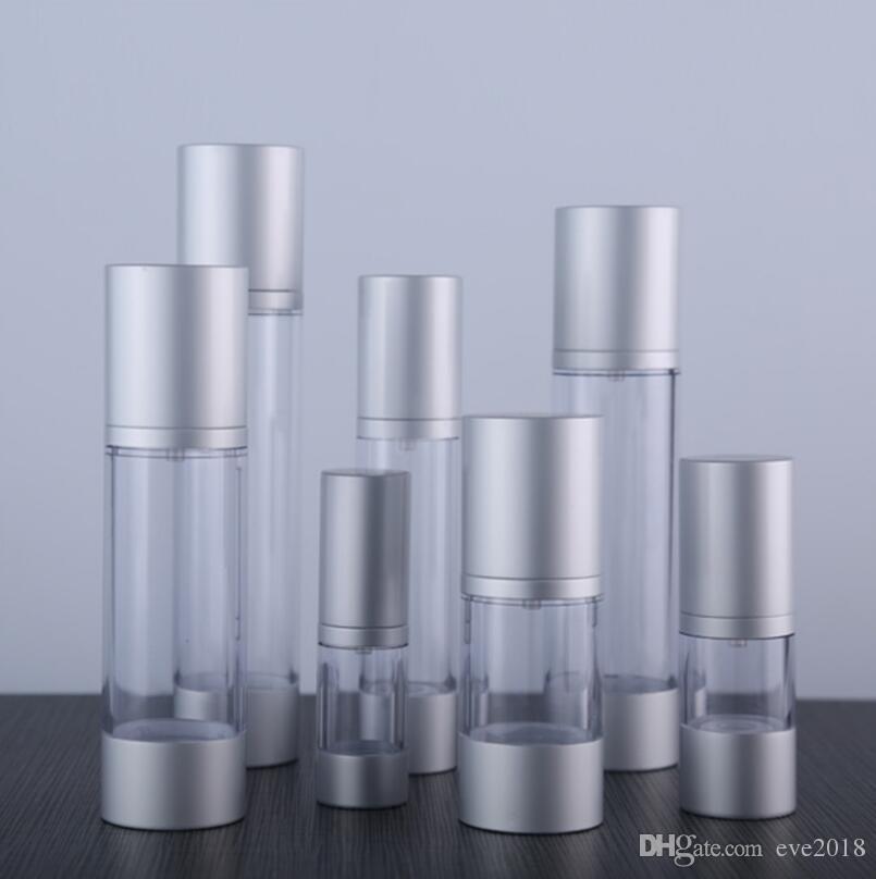 Bottiglia della pompa della lozione Airless riutilizzabile 30ML con pompa d'argento, contenitori cosmetici sottovuoto in alluminio LX2267