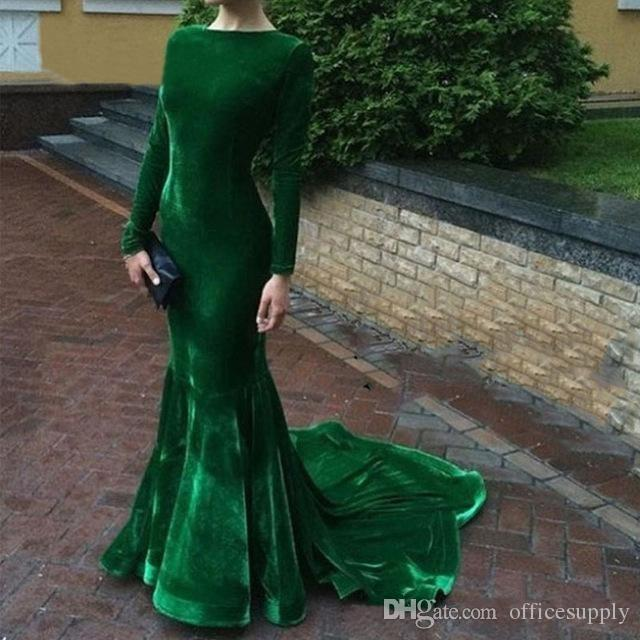 Elegant Emerald Green Velvet Dresses Evening Wear 2018