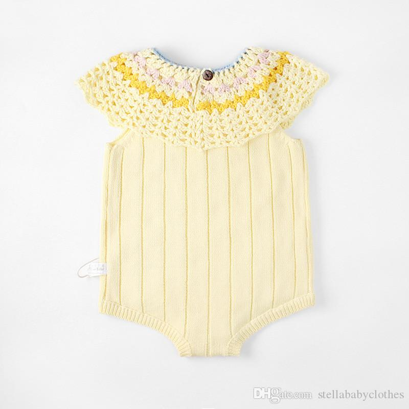 New arrival baby handmade hollow hook flower large lotus leaf collar knitted wool fashion clothing romper
