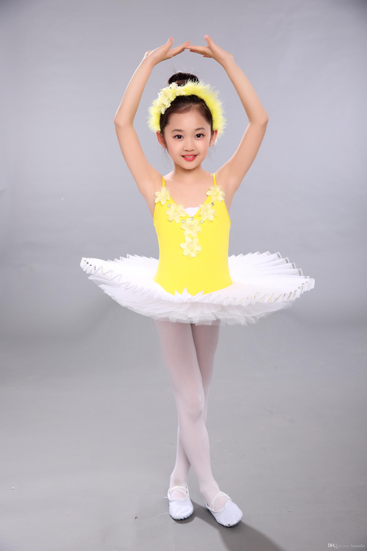 Vestito giallo da prestazione di balletto del vestito da ballo della ragazza del vestito dal tutu di balletto della garza gialla poco costoso trasporto libero di manifestazione