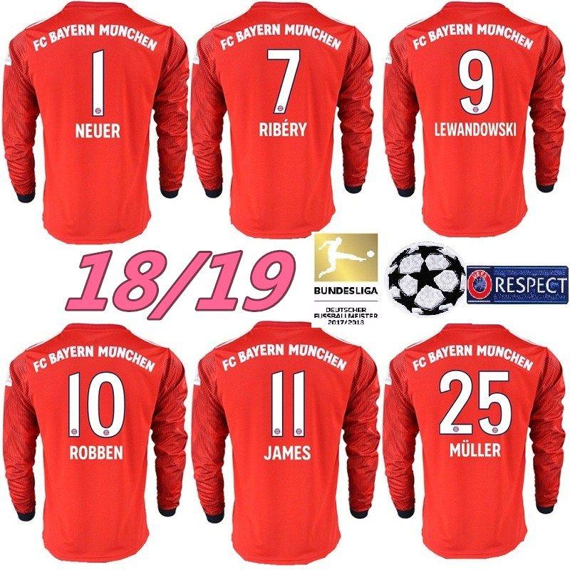 Top Tailandia Bayern Munich JAMES MANGA LARGA Camiseta De Fútbol 2018 2019  Camiseta LEWANDOWSKI MULLER KIMMICH 18 19 HUMMELS Camiseta De Fútbol Por ... d50b9dbe472a1