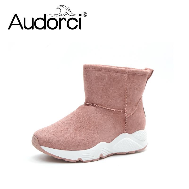 a307495b6df Compre Audorci Mulheres Sapatos De Inverno Ankle Boots Das Mulheres O Novo  4 Cor Moda Casual Moda Plana Quente Botas De Neve Mulher De Yera