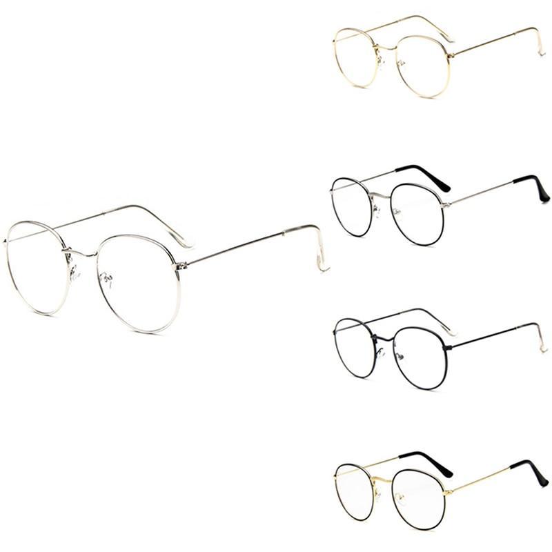 c51aceb70b Occhiali da vista chic alla moda in vetro tondo retrò con montatura in  metallo chiaro