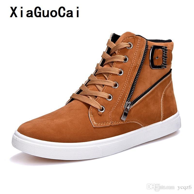 7d483a3b6919 XiaGuoCai Men Canvas Boots Lace Up Male Canvas Shoe Ankle Botas ...
