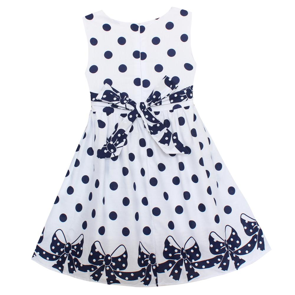 Shybobbi Girls Dress White Dot Print Bow Cute Dresses Party Pageant Wedding Kids Clothing For Summer Children Clothes Size 6-14