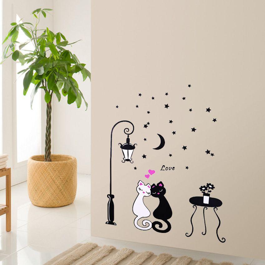 Cute Cartoon Couple Cat Flower Vine 3d Wallpaper Diy Vinyl Wall