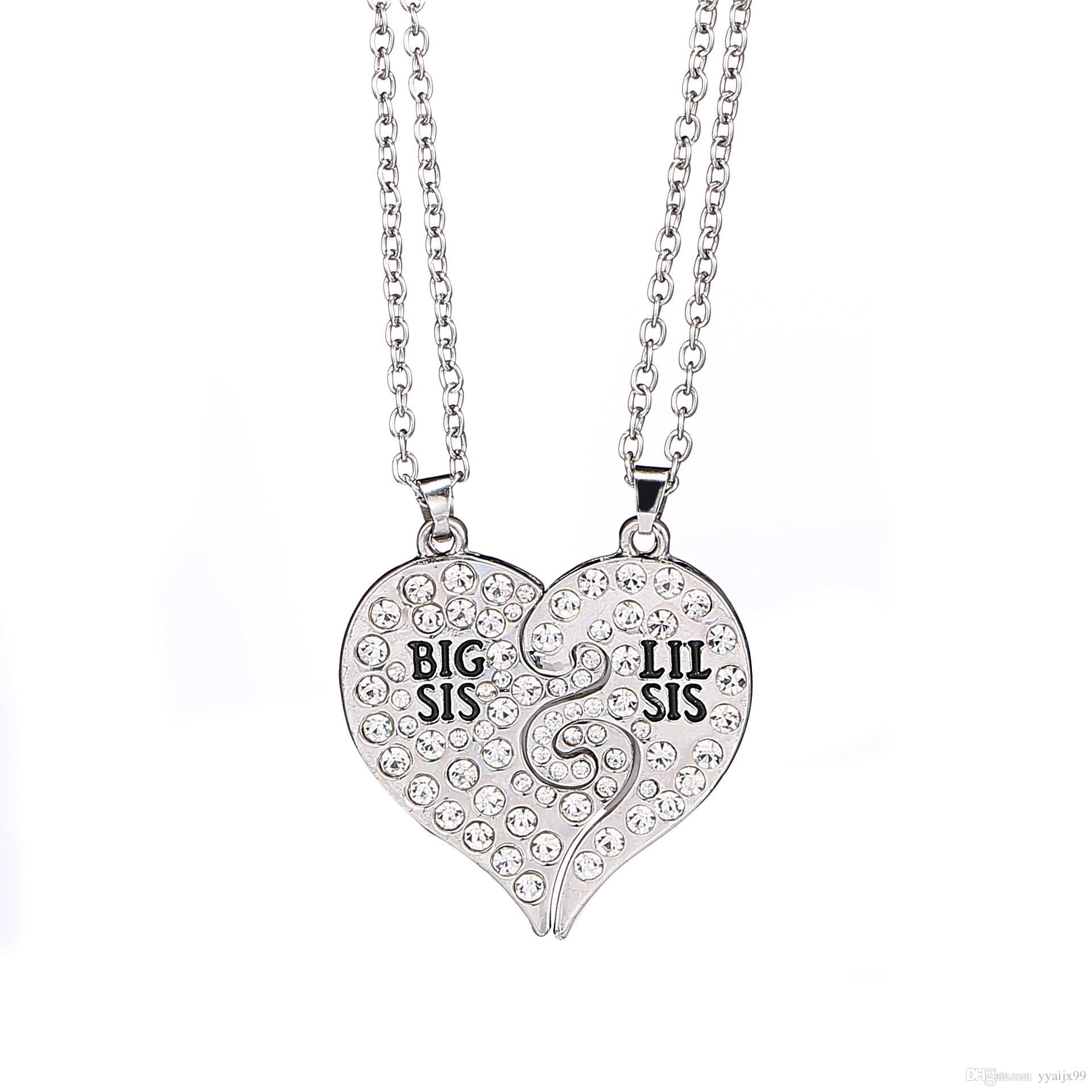 01c00596767f6 2017 new Big Sis Lil Sis Big Sister Little Sister BFF Best Friends Forever  Gold silver Broken Heart Rhinestone Necklace Sister Gift