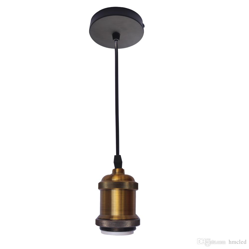 E27 Vintage Edison Pendant Light Industrial Copper Hanging Ceiling Mounted Chandelier Fixture Lamp Holder Fitting Kit Black Wirelight Bulb