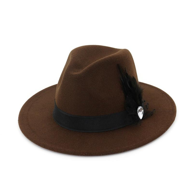 2782f03d037c6 Wide Brim Wool Felt Formal Party Jazz Trilby Fedora Hats Feather Band Decoration  Men Women Floppy Gambler Hat Fishing Hat Wide Brim Fedora From Gslyy0712
