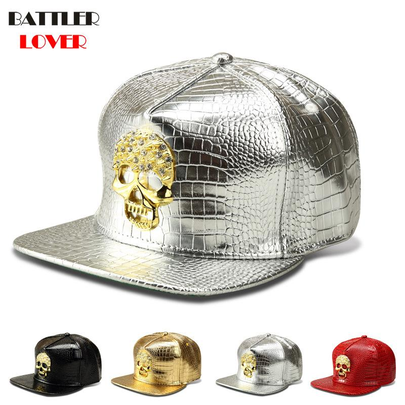 2018 Skulls Baseball Cap Men Crocodile Grain Leather Hat Mens DJ Street Dance Hip Hops Snapback Caps Mans Breaking Gorras Hombre