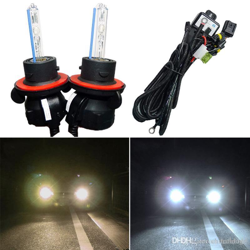 LEEWA 2x 35W Car AC HID Bulbs Xenon Headlight Lamp H13 9008 Hi Lo Bi With Wire Harness SKU2226