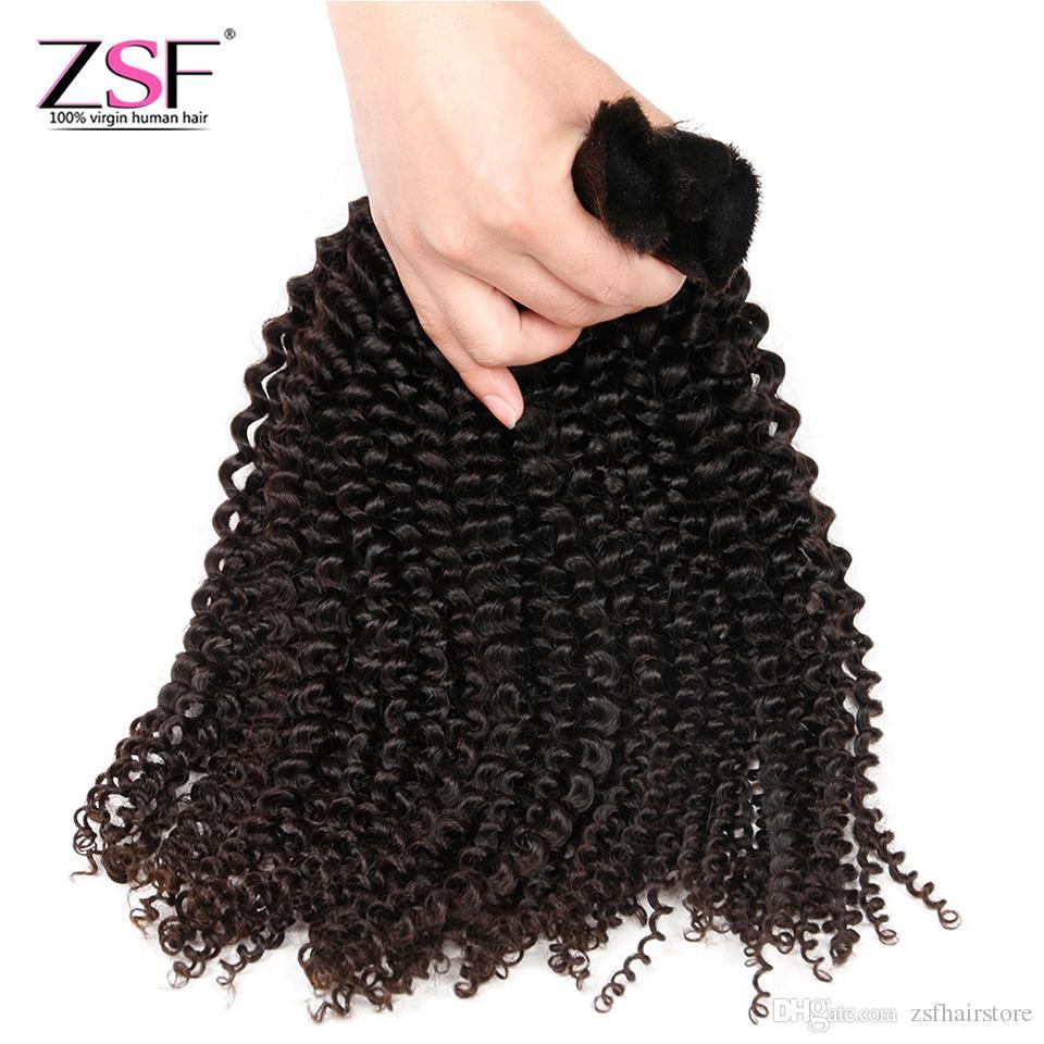 ZSF 10A 30 pulgadas de pelo a granel de alta calidad rizado rizado humano a granel malasia mongoles chino 4 paquetes de extensiones de cabello humano a granel