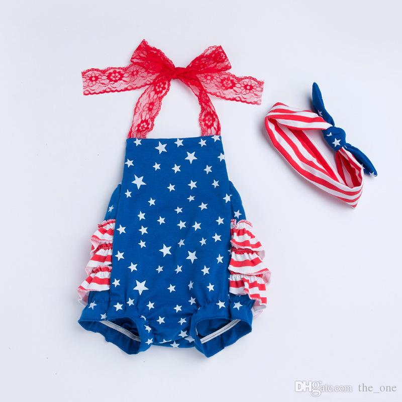 6Styles Cute Baby Girls Clothes Sets Suits Rompers and Headbands Independence Day Red Stripe Baby Apron Belly Guard Brief Rompers