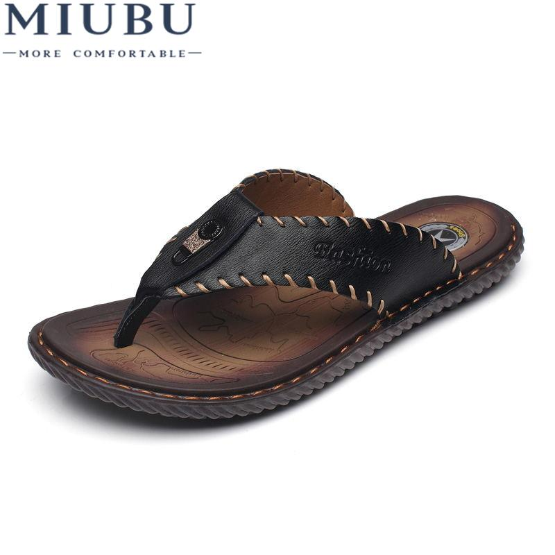 57a6ad5eb245 Wholesale Cow Leather Men Beach Slippers Fashion Flip Flops With Soft Sole  Trendy Breathable Easy To Match Men Summer Shoes Walking Boots Womens  Cowboy ...