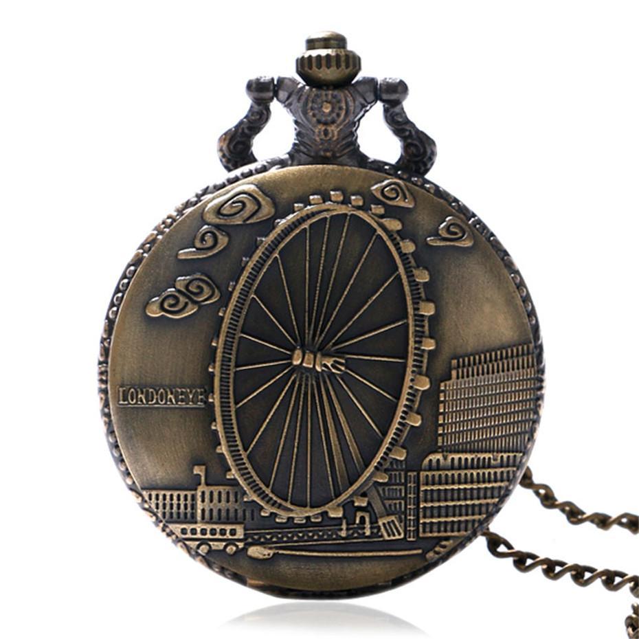 062f5b41a Fashoin Wheel Design Romantic Quartz Pocket Watch for Men Women with ...