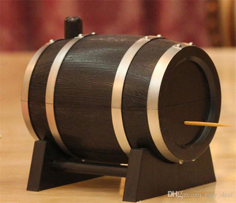Creativo Wine Barrel Style Plastica Scatola Stuzzicadenti Stuzzicadenti Contenitore di Stuzzicadenti Distributore Spedizione Gratuita All'ingrosso ZA6950