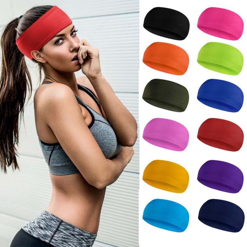 4962dcddb000 2019 Yoga Sweat Band Women Men Quick Dry Breathable Elastic Headband Solid  Color Running Fitness Sports Band From Enjoyweekend