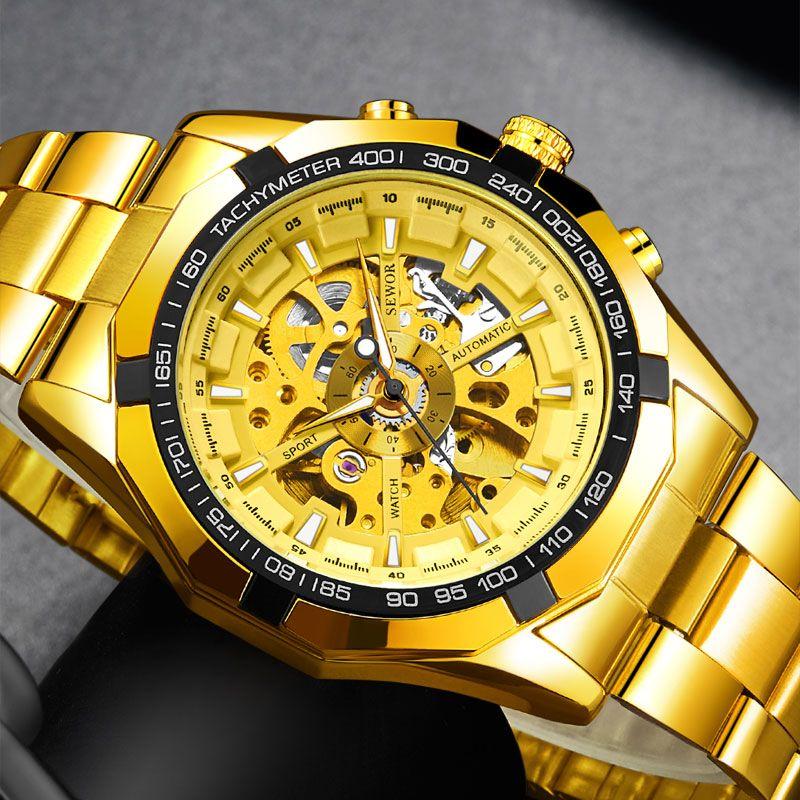 061a80dced9 Compre SEWOR Relógio Mecânico Automático Homens De Luxo Da Marca Esqueleto  Relógio De Aço Inoxidável Relogio Masculino De Byuild