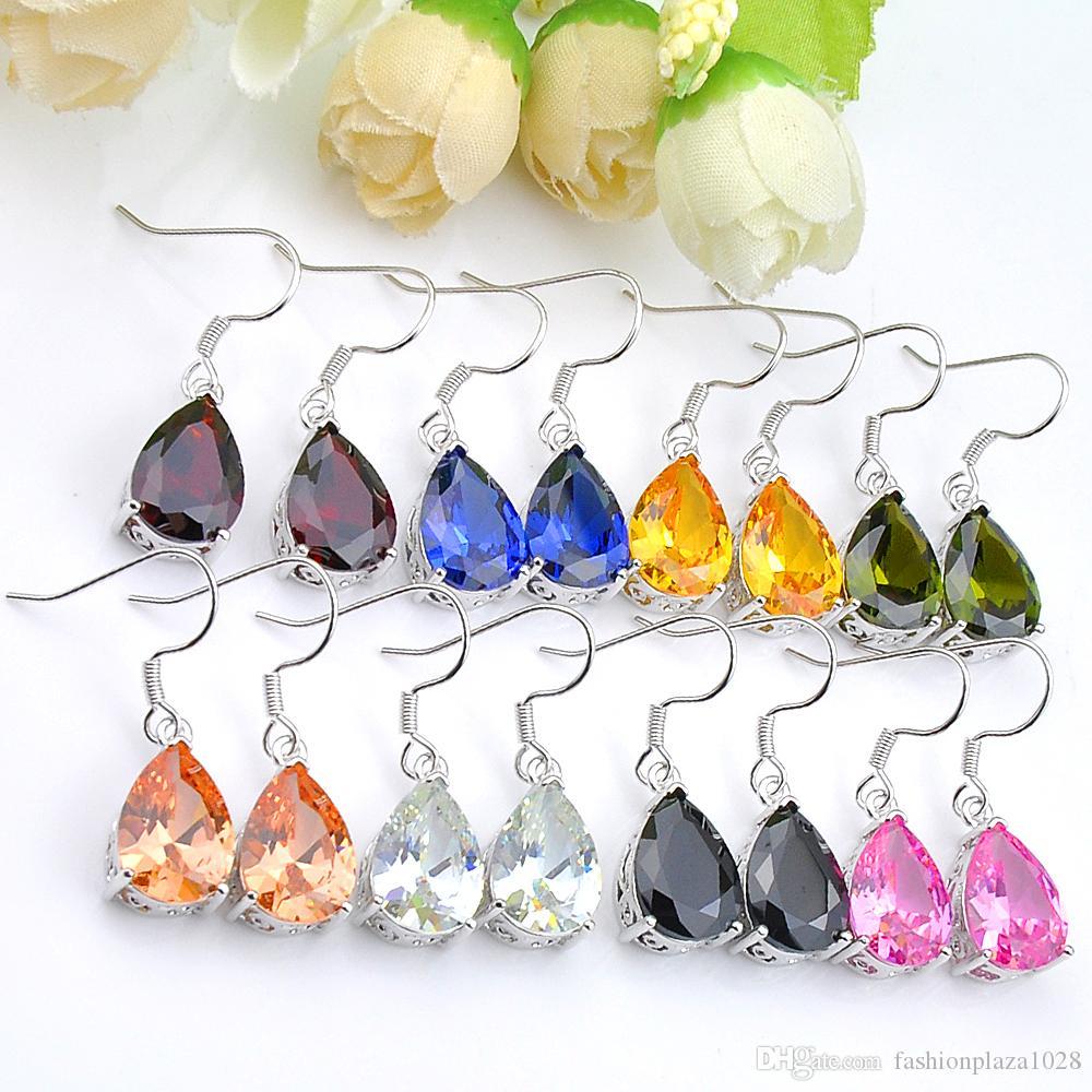 Luckyshine 2 lotto dei pc a forma di pera Gioielli Morganite granato citrino orecchini argento 925 Plater donne zircone orecchini di modo di marca
