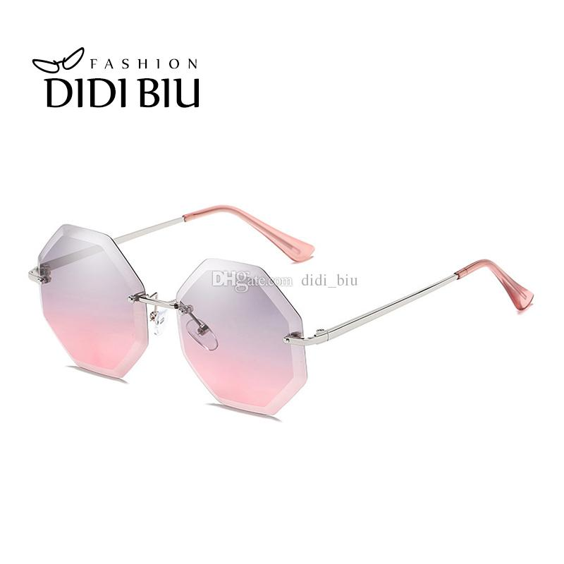 056cc25bc30 Rimless Sunglasses For Women Fashion Octagon Cutting Ocean Lens Metal Thin  Sun Glasses Polygon Mirror Shades Gafas De Sol WN1037 Tifosi Sunglasses  Cheap ...