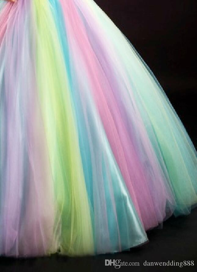 Gorgeous Rainbow Tulle Halter Beads Flower Girl Dresses Princess Dresses Girl's Pageant Dresses Custom Made Size 2-6 8 10 12 14 KF316138