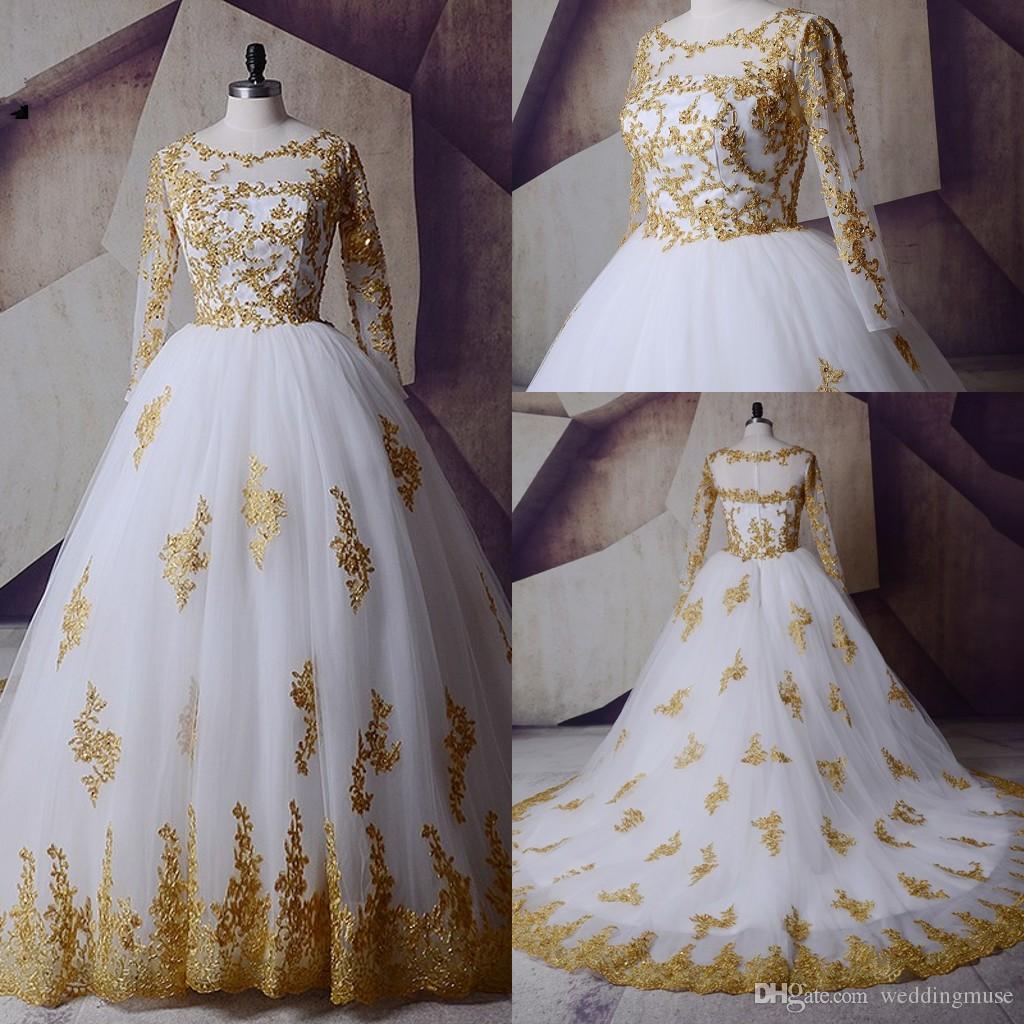 White Gold Wedding Dresses 2018 Long Sleeve Muslim Arabic Bridal ...