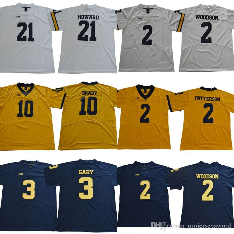 2019 Mens Michigan Wolverines Jersey 10 Tom Brady 2 Charles Woodson Shea  Patterson 3 Rashan Gary 21 Desmond Howard College Football Jerseys From ... fa668afb7