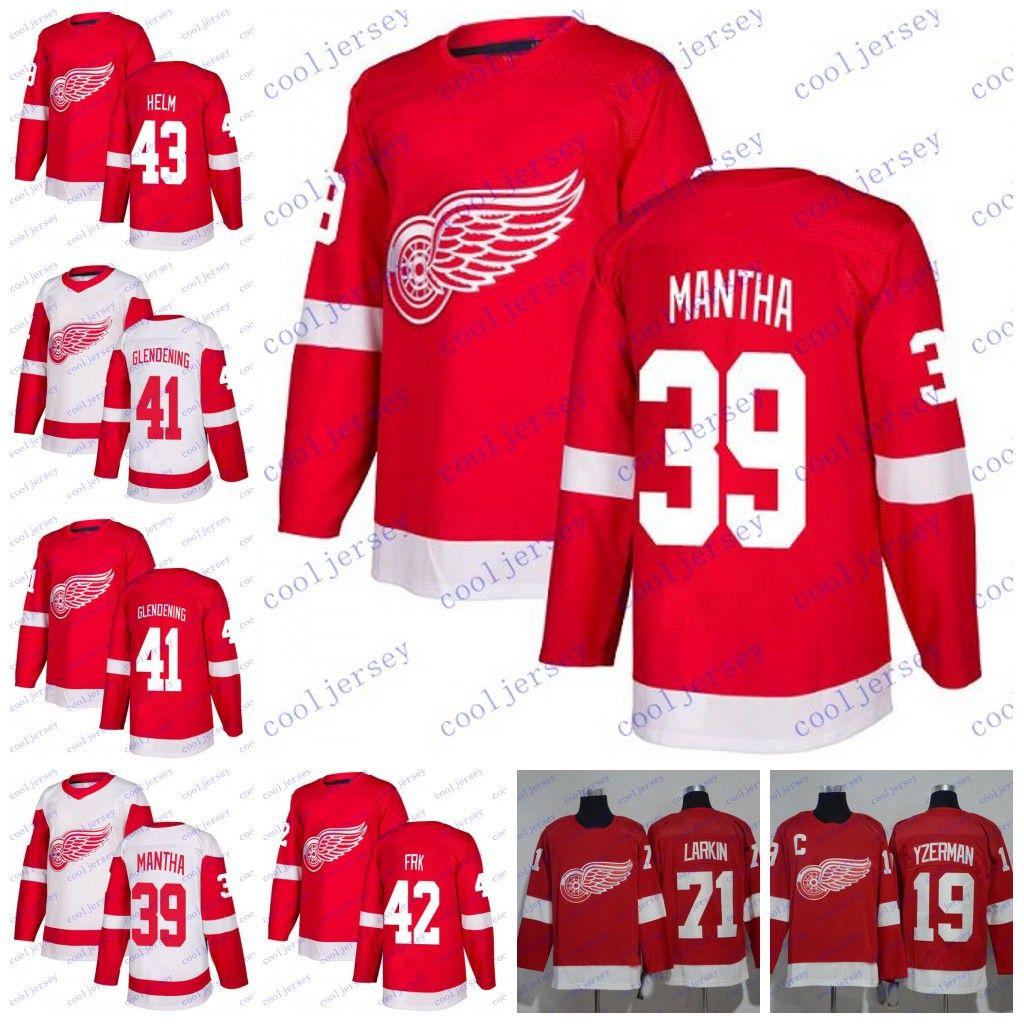 2019 2018 Detroit Red Wings Hockey   39 Anthony Mantha 43 Darren Helm 41  Luke Glendening 42 Martin Frk NEW White Red Ice Jerseys S 60 From  Cooljersey 114bcde59