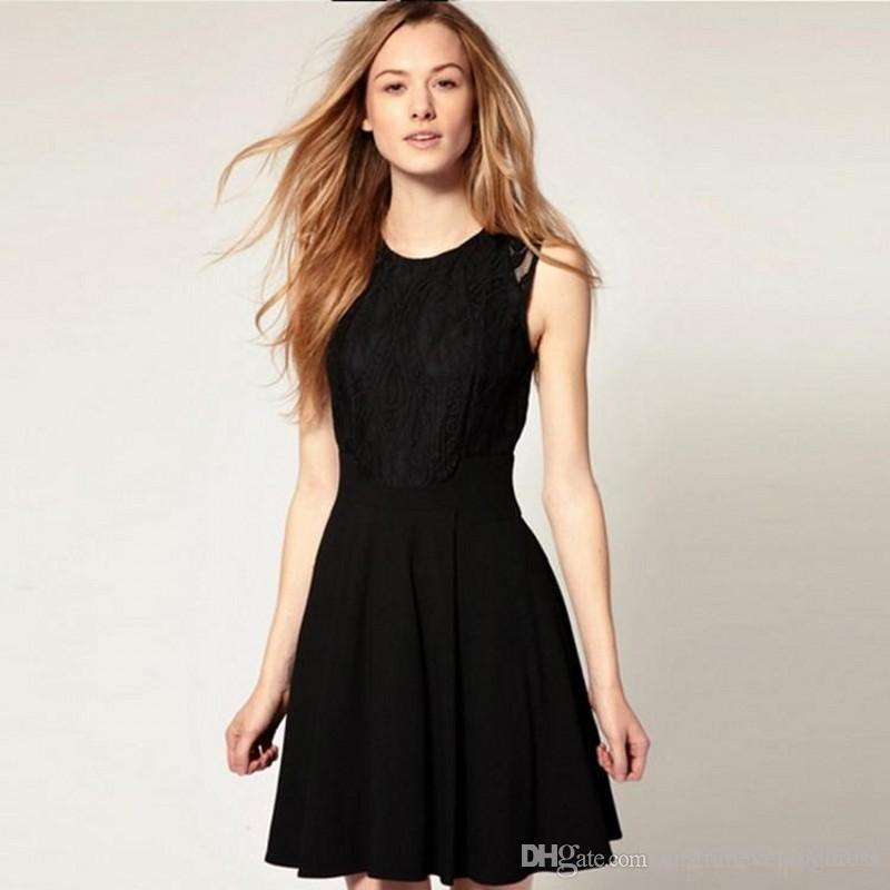 2018 Summer New Small Fragrant Wind Lace Dresses Elegant Woman in Black Audrey Hepburn Dress Above Knee Cocktail Dresses
