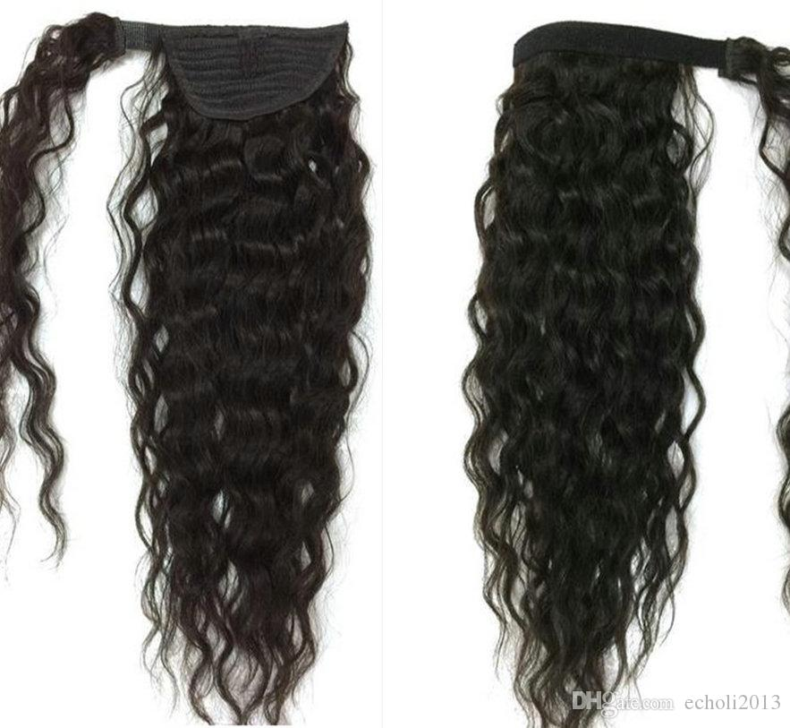 100% capelli umani coulisse coda di cavallo profonda onda ricci parrucca reale estensione dei capelli umani coda di cavallo black women100g120g140g