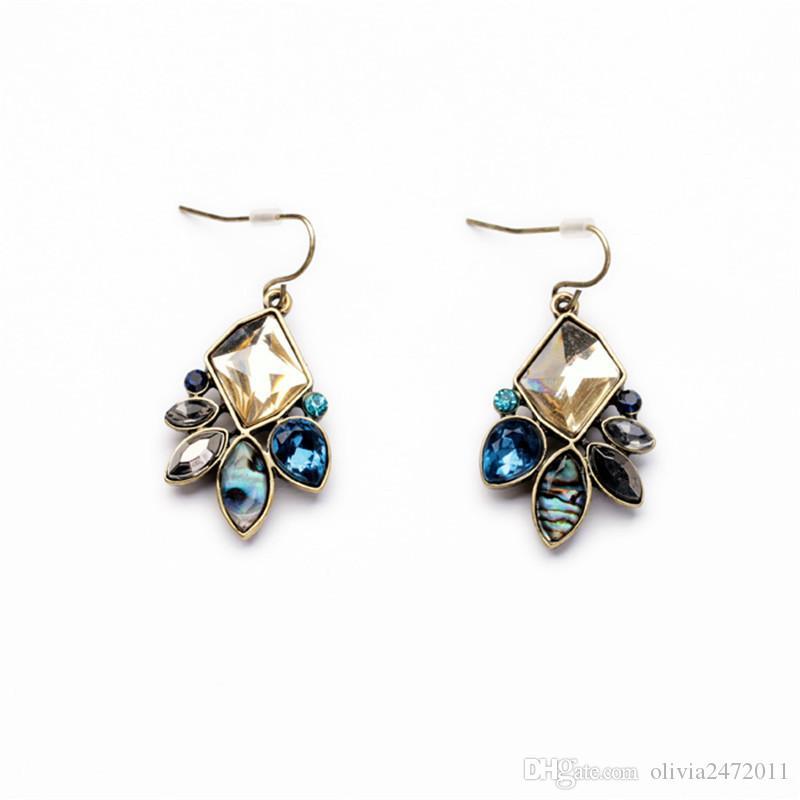 Harts ädelsten antik guld färg droppe örhängen för kvinnor färgglad kristall blomma dangle örhängen 2 mönster