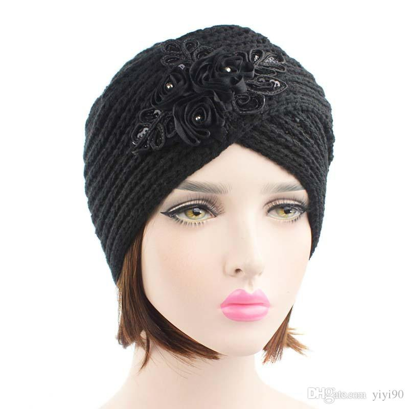 3acfb7710da Muslim Winter Warm Hat Sequins Flower Cross Knitted Wool Cap Beanie Sleep  Chemo Turban Headwear Cancer Patients Hair Accessories Sun Hats Sun Hat  From ...