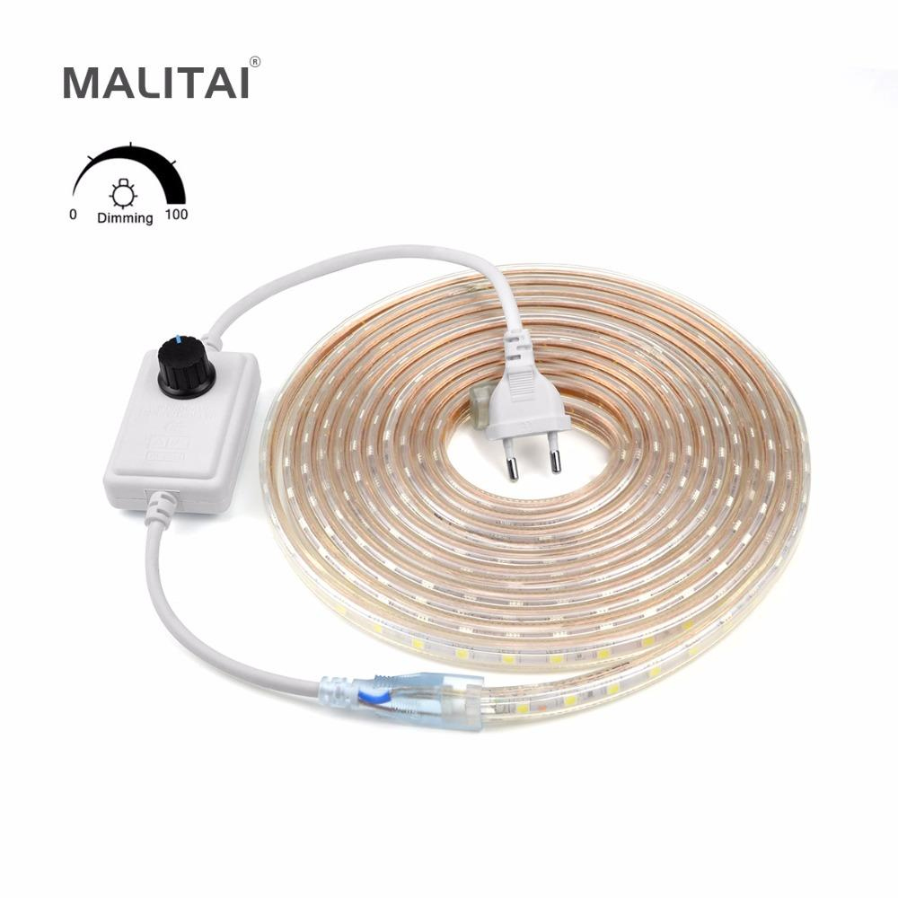 Dimmable ac 220v smd 5050 led strip light waterproof outdoor led dimmable ac 220v smd 5050 led strip light waterproof outdoor led lamp tape ribbon home decoration string lighting with eu dimmer led strip lighting kitchen aloadofball Image collections