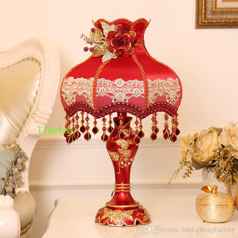 Bedroom decorative Table lamps red lampshades for Table lamp Personality  wedding room Modern led Light bedside lamp led light up rose