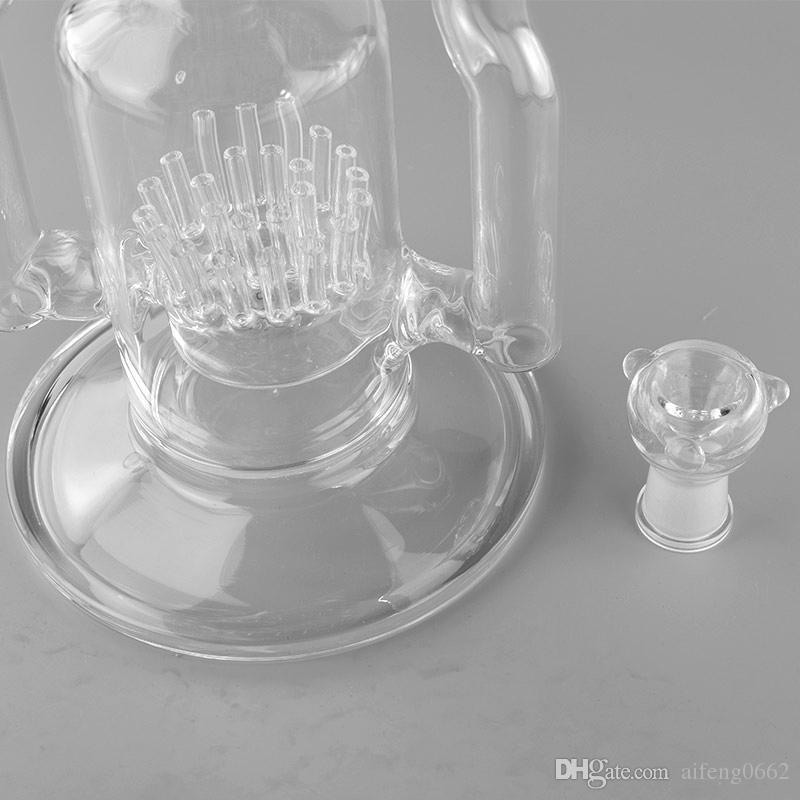 JM Flow Sci Hookah Glass Mega Sprinkler to Cross-Crystal Ball Hornet Recycler -18.8mm Hombre Joint-18.5inches