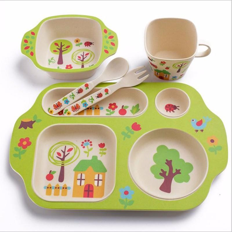 Online Cheap Bamboo Fiber Baby Feeding Dinnerware Set With Plate Bowl Cup Fork Spoon Children Tableware Service Love Eating Cartoon Type By Sophine14 ...  sc 1 st  DHgate.com & Online Cheap Bamboo Fiber Baby Feeding Dinnerware Set With Plate ...