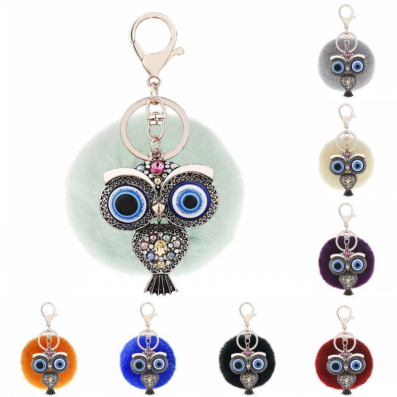 Crystal Rhinestone Owl Key Chain Rabbit Fur Fluffy Pompon Keychains Bag Charm Keyrings Artificial Fur Ball Keyfob 12 Styles G629Q