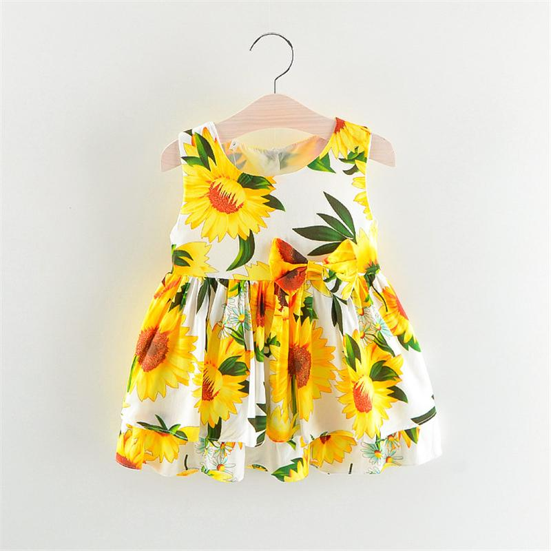 0065892758c47 2019 Girls Dress Baby Summer Sunflower Print Dress Clothes Girls Sleeveless Toddler  Girl Summer Costume From Qwinner, $24.77 | DHgate.Com